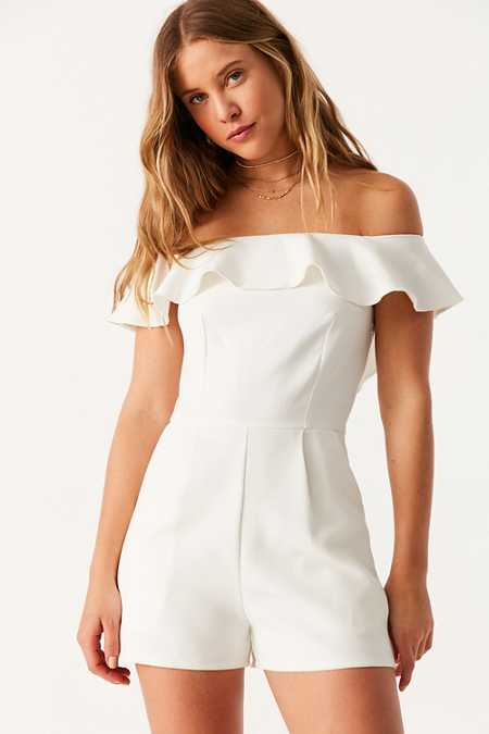 Oh My Love Waterlilly Off-The-Shoulder Ruffle Romper