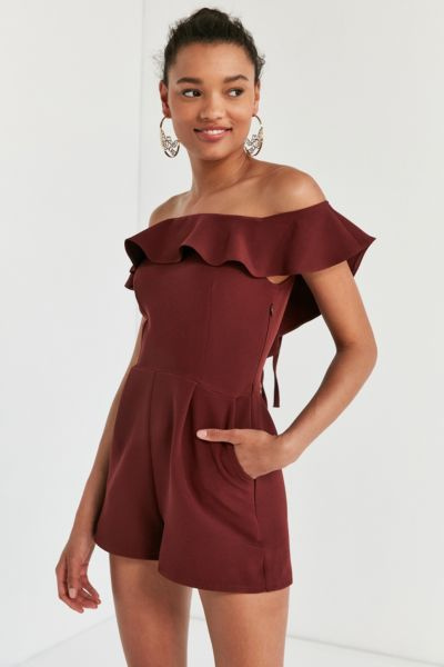 Oh My Love Waterlilly Off-The-Shoulder Ruffle Romper - Maroon XS at Urban Outfitters
