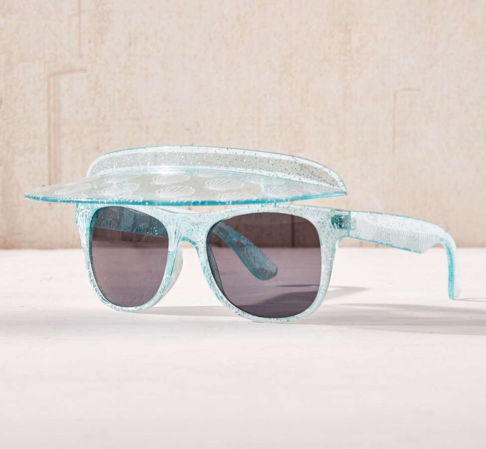 Slide View: 1: Glitter Shell Visor Shades