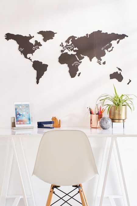 World Map Chalkboard Write-On Wall Decal Set