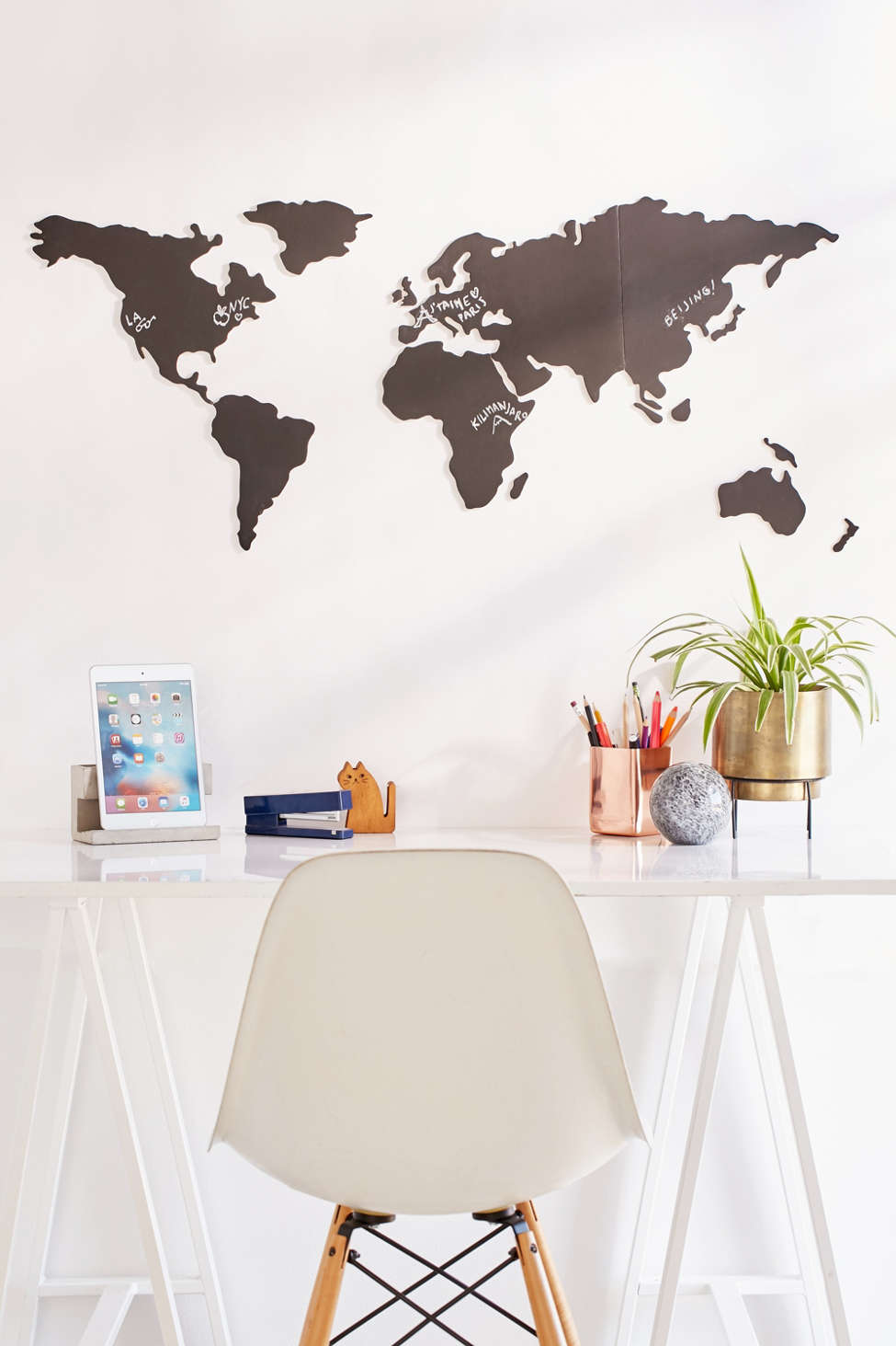 world map chalkboard write-on wall decal set | urban outfitters canada