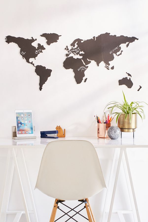 World Map Chalkboard WriteOn Wall Decal Set Urban Outfitters - World map wallpaper decal