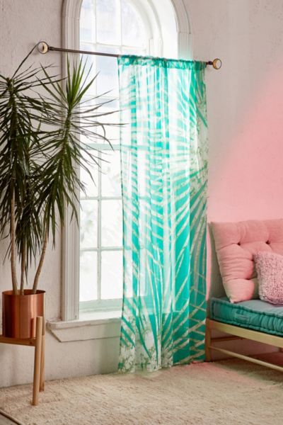 Batik Palm Print Window Curtain - Green 84