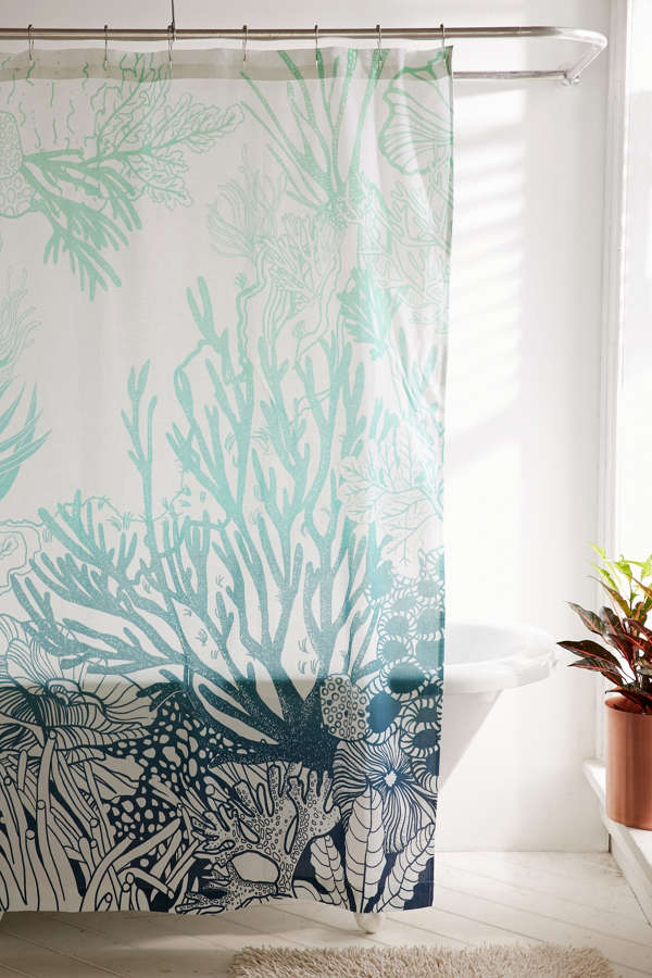 Slide View  1  Ombre Coral Reef Shower CurtainOmbre Coral Reef Shower Curtain   Urban Outfitters. Coral And Teal Shower Curtain. Home Design Ideas