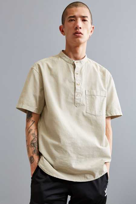 UO Band Collar Short Sleeve Popover Shirt