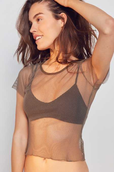 Out From Under Layer On Me Fishnet Tee