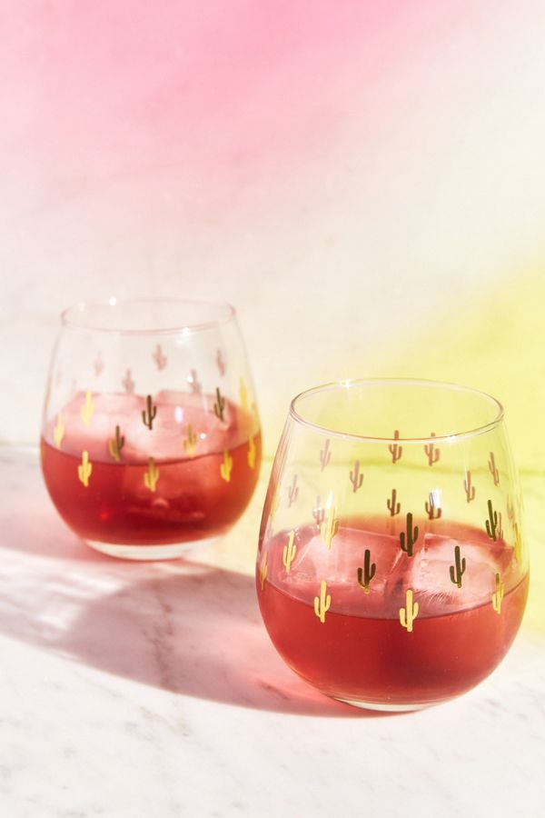 Slide View 1 Metallic Cactus Stemless Wine Glass