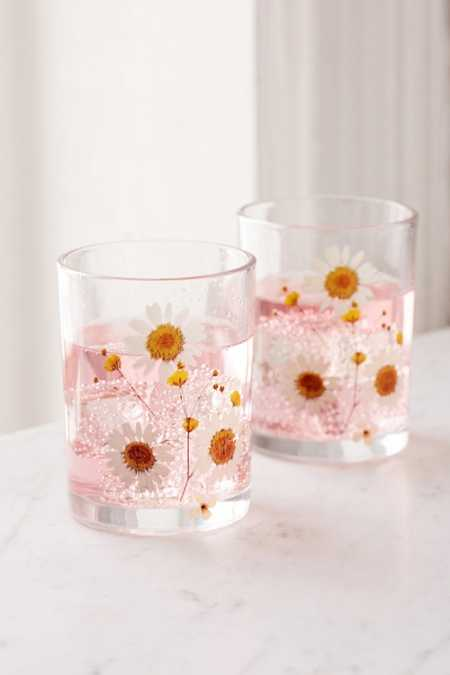 Pressed Daisy Glasses Set