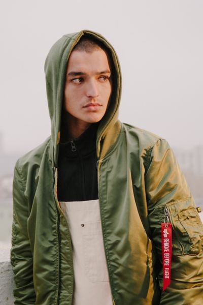 Alpha Industries X UO Monochromatic Hooded L-2B Bomber Jacket - Olive S at Urban Outfitters