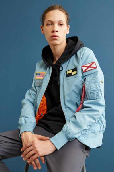 Alpha Industries L-2B Flex Bomber Jacket - Sky XS at Urban Outfitters