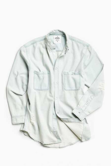 Cheap Monday Conduct Destroyed Denim Button-Down Shirt