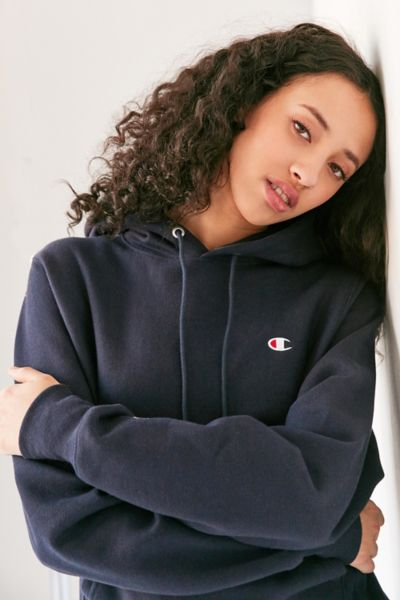 Champion Reverse Weave Hoodie Sweatshirt - Navy XL at Urban Outfitters