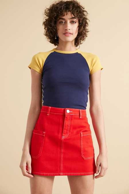 BDG Contrast Stitch Twill A-Line Mini Skirt