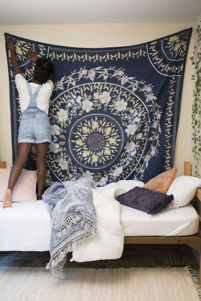 Sketched Floral Medallion Tapestry - Blue One Size at Urban Outfitters