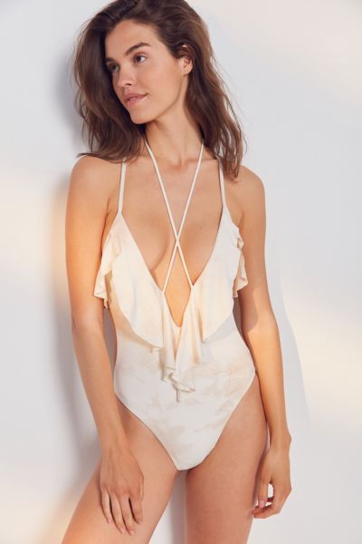 Blue Life Ruffle Romance One-Piece Swimsuit - White S at Urban Outfitters