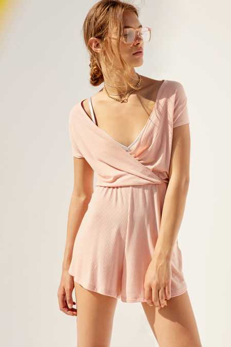 Kimchi Blue Pink Ribbed Surplice Romper