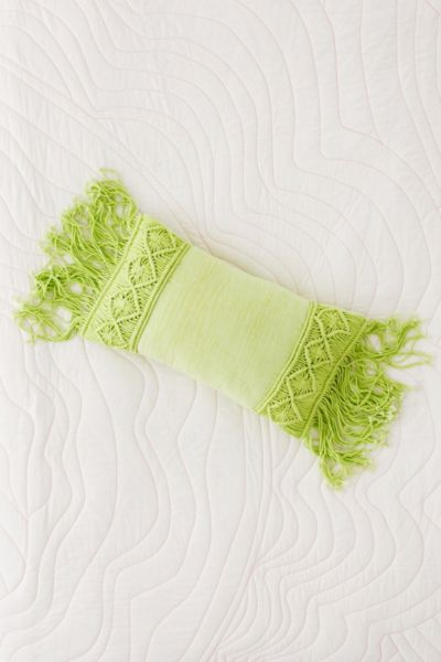 Aiko Crochet Fringe Bolster Pillow - Lime  - Green 14 X 24 at Urban Outfitters