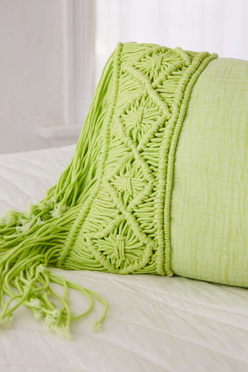 Slide View: 2: Aiko Crochet Fringe Bolster Pillow