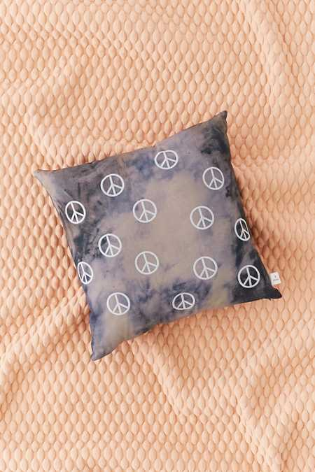 Embroidered Peace Sign Pillow