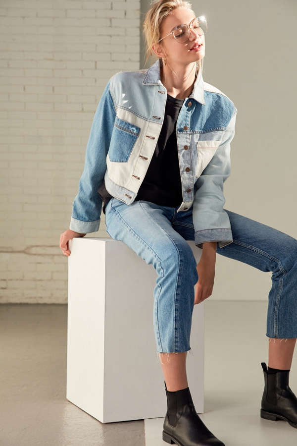 Slide View: 2: BDG Mix + Match Denim Cropped Trucker Jacket