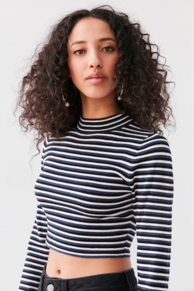 Silence + Noise Striped Cropped Turtleneck Sweater - Blue Multi XS at Urban Outfitters