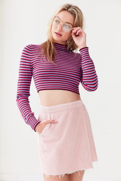 Silence + Noise Striped Cropped Turtleneck Sweater - Light Purple XS at Urban Outfitters