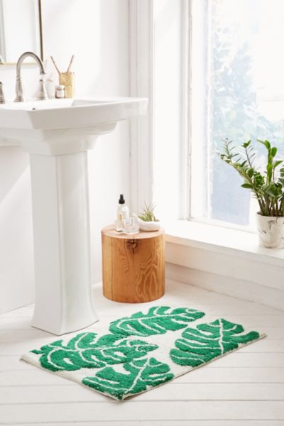 All Over Palm Bath Mat - Green Multi One Size at Urban Outfitters