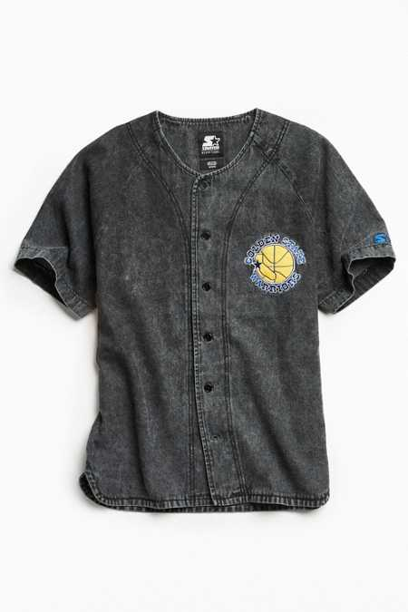 Starter X UO NBA Golden State Warriors Denim Baseball Shirt