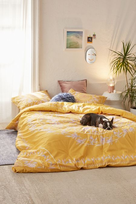 Yellow bedding bed linens urban outfitters iris sketched floral comforter mightylinksfo Image collections