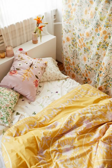 Yellow floral prints dresses bedding more urban outfitters iris sketched floral comforter mightylinksfo Image collections