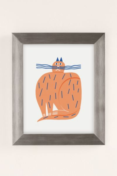 Marcus Oakley Cat Art Print - Silver 8 X 10 at Urban Outfitters