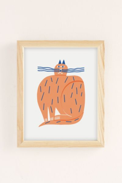 Marcus Oakley Cat Art Print - Neutral 8 X 10 at Urban Outfitters