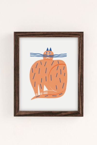 Marcus Oakley Cat Art Print - Brown 8 X 10 at Urban Outfitters