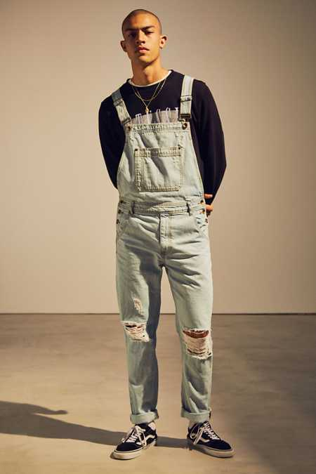 BDG Destructed Ice Wash Denim Overall