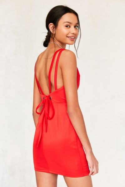 Rare London Plunging Grommet Dress - Red S at Urban Outfitters