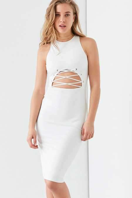 Rare London Lace-Up Cutout Midi Dress