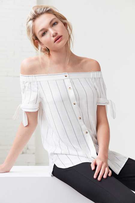 BDG Tie-Sleeve Off-The-Shoulder Button-Down Top