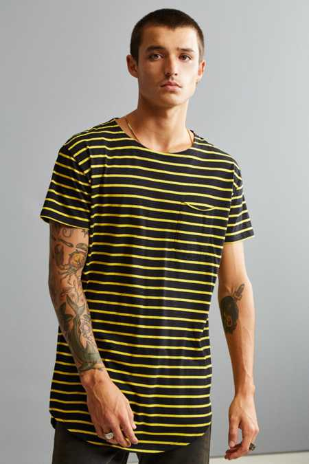 Nautical Yellow Stripe Long Loose Scoopneck Tee