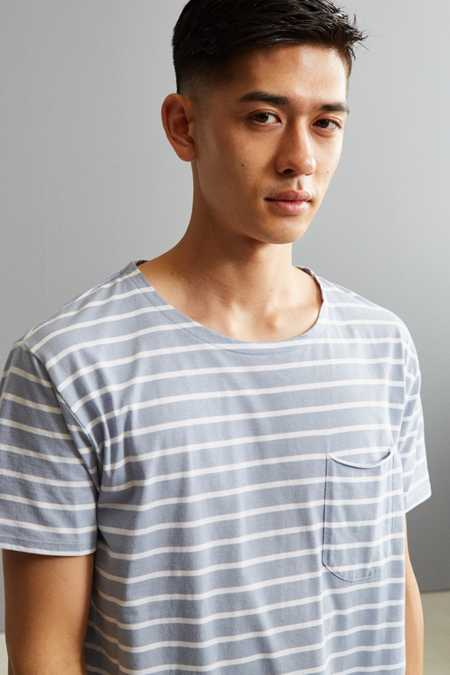 Nautical Stripe Long Loose Scoopneck Tee