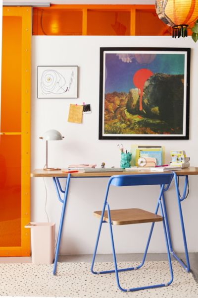 Nora Wooden Desk - Blue One Size at Urban Outfitters