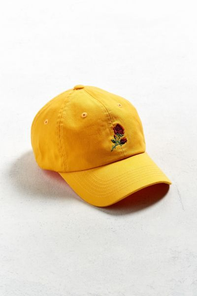 UO Denim Rose Baseball Hat - Gold One Size at Urban Outfitters