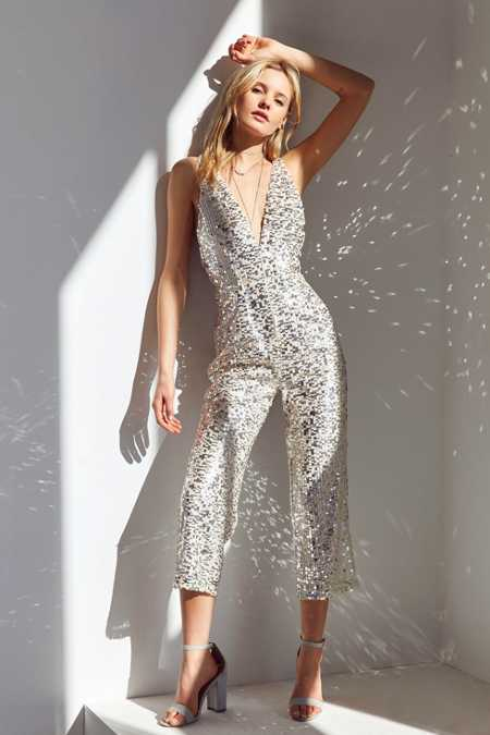 Rare London Plunging Sequin Jumpsuit