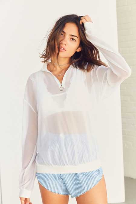 Silence + Noise Chiffon Popover Zip-Up Top