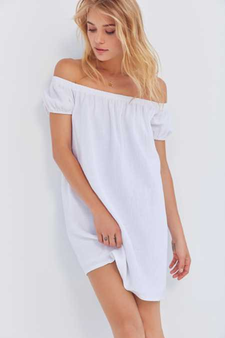 Cooperative Off-The-Shoulder Linen Dress