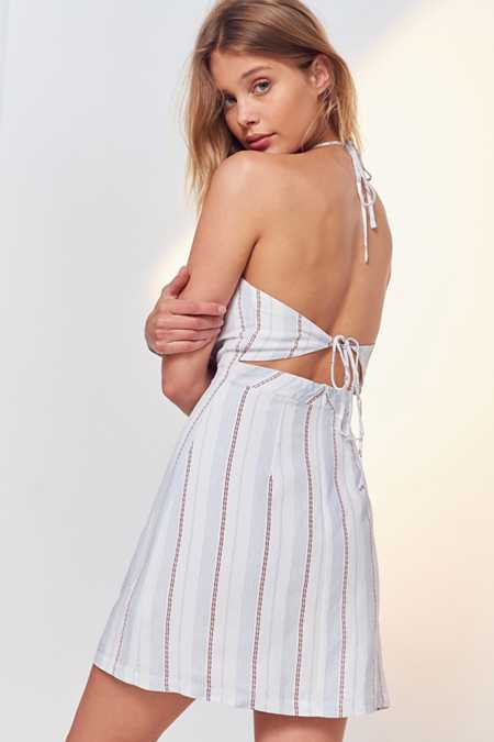 Cooperative Yarn-Dyed Strappy Back Mini Dress