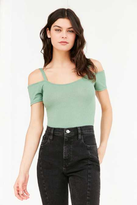 Out From Under Cold Shoulder Ribbed Bodysuit