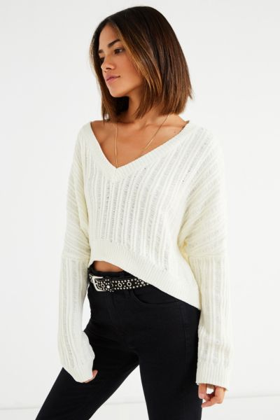 Slouchy Chenille High/Low V-Neck Sweater