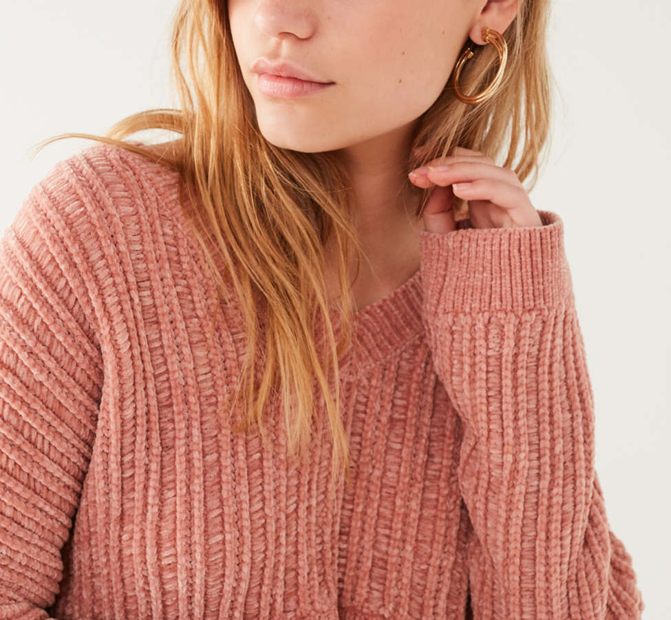 Slide View: 1: Silence + Noise Slouchy Chenille High/Low V-Neck Sweater