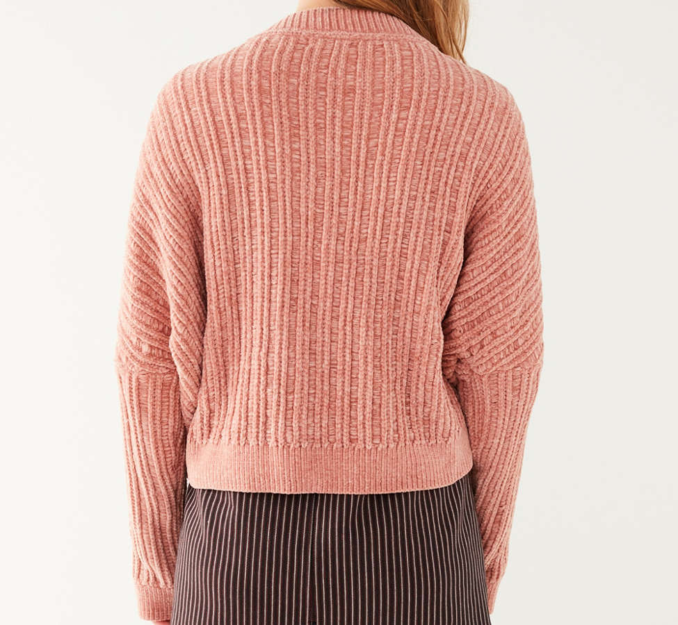 Slide View: 2: Silence + Noise Slouchy Chenille High/Low V-Neck Sweater