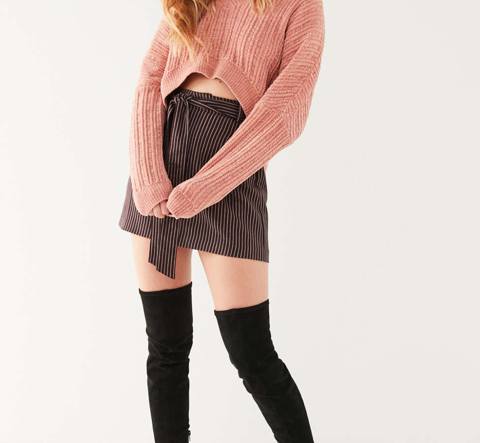 Slide View: 3: Silence + Noise Slouchy Chenille High/Low V-Neck Sweater